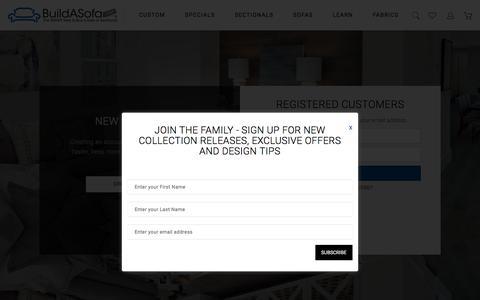 Screenshot of Login Page buildasofa.com - Customer Login - captured June 28, 2017