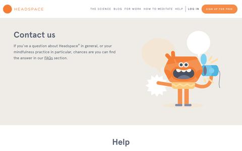 Screenshot of Contact Page headspace.com - Questions about Headspace - captured March 13, 2019