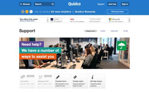 Screenshot of Support Page quidco.com - Help | Quidco - captured July 12, 2016