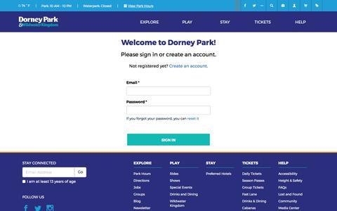 Screenshot of Login Page dorneypark.com - Dorney Park - captured June 30, 2017