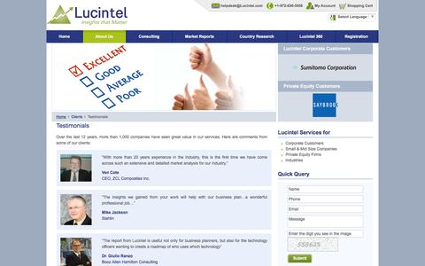 Screenshot of Testimonials Page lucintel.com - Lucintel's core focus is to customer satisfaction - captured July 18, 2016