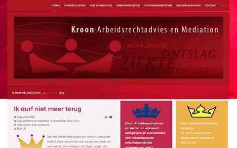 Screenshot of Blog kroonmediation.nl - Kroon Arbeidsrechtadvies en Mediation - Blog - captured Oct. 29, 2014