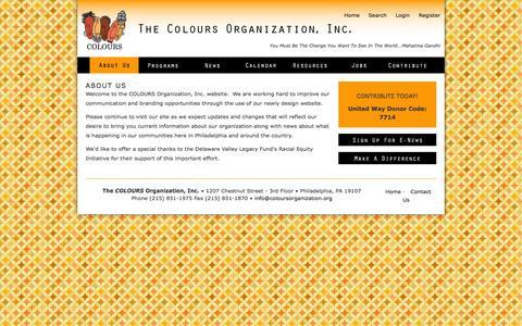 Screenshot of About Page coloursorganization.org - About Us | The Colours Organization, Inc. - captured Oct. 1, 2014