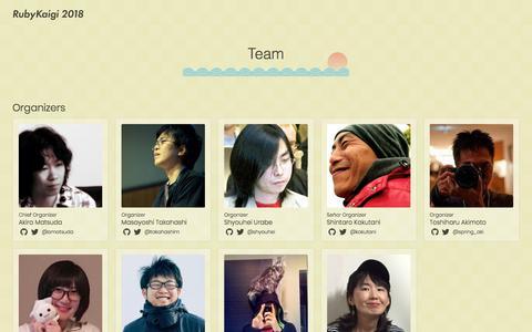 Screenshot of Team Page rubykaigi.org - Team       - RubyKaigi 2018 - captured Jan. 31, 2018