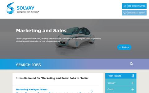 Screenshot of Jobs Page solvay.com - Marketing and Sales Jobs in India at Solvay | Careers at Solvay - captured Dec. 29, 2017