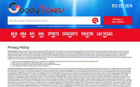 Screenshot of Privacy Page goodytickets.com - Privacy Policy | Goody Tickets - captured Feb. 12, 2018