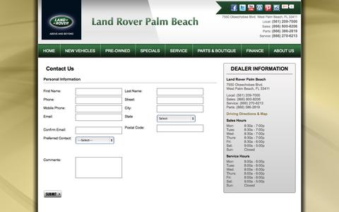 Screenshot of Contact Page landroverpalmbeach.com - West Palm Beach, FL Land Rover Dealership | Land Rover Palm Beach | New Land Rover and Used Autos Dealer. - captured Sept. 29, 2014