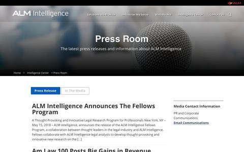 Screenshot of Press Page alm.com - Press Room | ALM Intelligence - captured Oct. 26, 2018