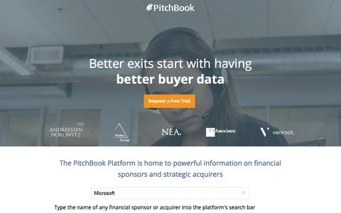 Screenshot of Landing Page pitchbook.com - Private Company Data - PitchBook - captured Sept. 1, 2016