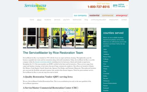 Screenshot of About Page servicemasterbyrice.com - ServiceMaster by Rice Team - Des Moines, Iowa Restoration - captured June 19, 2017