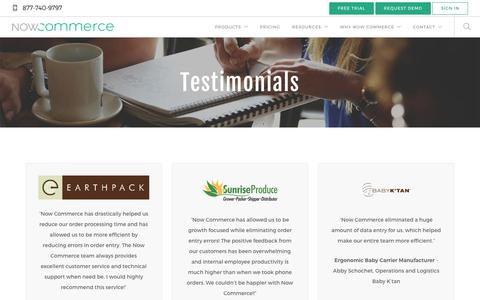 Screenshot of Testimonials Page nowcommerce.com - Testimonials - Reviews - Now Commerce - captured July 27, 2018