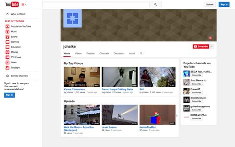 Screenshot of YouTube Page youtube.com - jchaike  - YouTube - captured Oct. 23, 2014