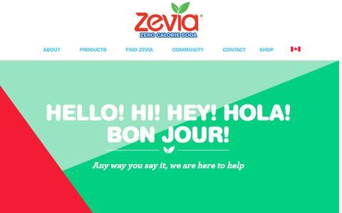 Screenshot of Contact Page zevia.com - Contact Zevia: Customer Service, Sales, Press and Supplier Inquiries, Social Media | Zevia Zero Calorie Soda - captured July 9, 2016