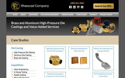 Screenshot of Case Studies Page rheocast.com - Case Studies - Rheocast Company - captured Aug. 17, 2016