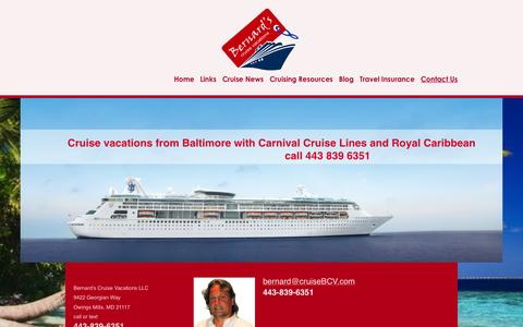 Screenshot of Contact Page cruisebcv.com - Bernard's Cruise Vacations from Baltimore to the Caribbean - Contact Us - captured Feb. 7, 2016