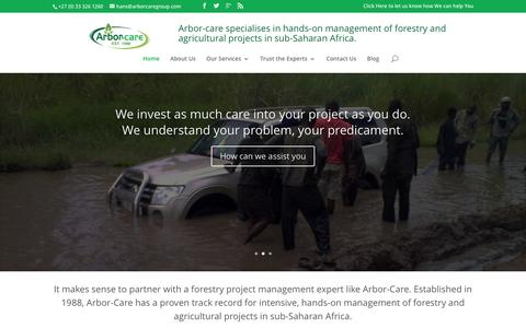 Screenshot of Home Page arbor-care.co.za - Welcome to Arbor-Care - captured July 26, 2016