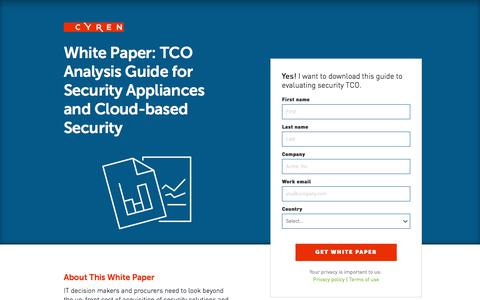 Screenshot of Landing Page cyren.com - Whitepaper: TCO Analysis Guide for Security Appliances and Cloud-based Security - captured May 26, 2018
