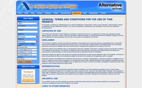 Screenshot of Terms Page alternativeairlines.com - Terms and conditions   Terms and conditions   alternativeairlines.com - captured Sept. 24, 2014