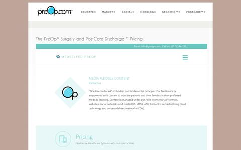 Screenshot of Pricing Page preop.com - PreOp® Surgery and PostCare™ Discharge Freemium OfferPreOp® Patient Education - captured Feb. 12, 2016