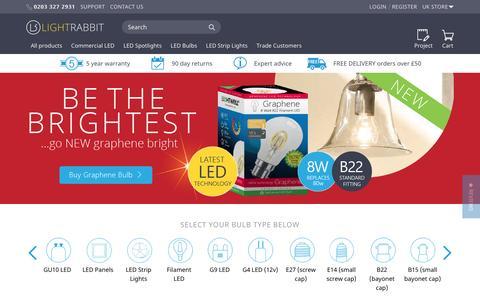 Screenshot of Home Page lightrabbit.co.uk - Buy LED Light Bulbs Online @ UK LED Lighting Supplier LightRabbit inc. GU10, MR16, B22, E14 LED Bulbs... - captured April 1, 2017