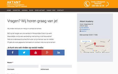 Screenshot of Contact Page aktant.nl - Contact - captured Dec. 22, 2015