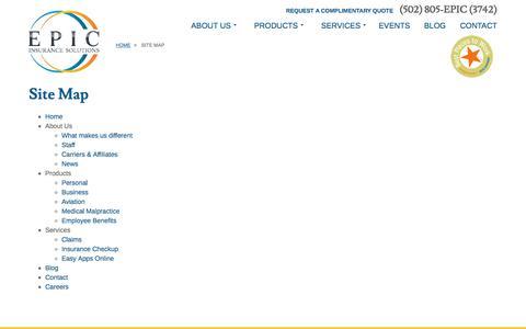 Screenshot of Site Map Page epicinsurancesolutions.com - Epic Insurance - captured Dec. 23, 2016