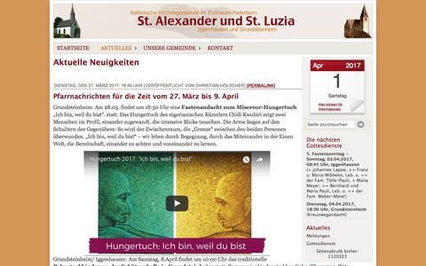 Screenshot of Press Page st-alexander-iggenhausen.de - Katholische Kirchengemeinde St. Alexander, Iggenhausen - Neuigkeiten - captured March 31, 2017