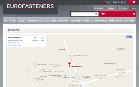 Screenshot of Contact Page eurofasteners.co.uk - Contact Us - captured Oct. 3, 2014