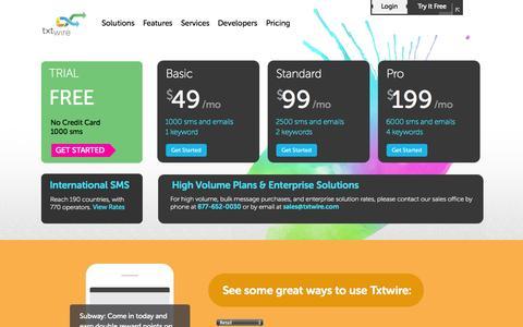 Screenshot of Pricing Page txtwire.com - Pricing | Txtwire - captured Oct. 7, 2014