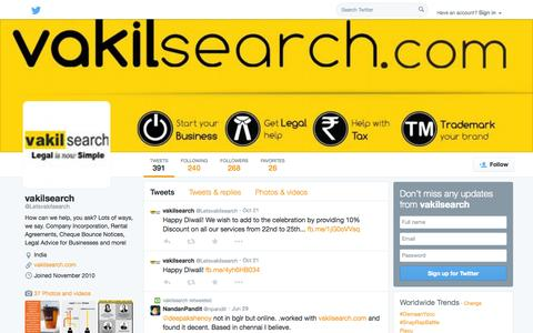 Screenshot of Twitter Page twitter.com - vakilsearch (@Letsvakilsearch) | Twitter - captured Oct. 27, 2014