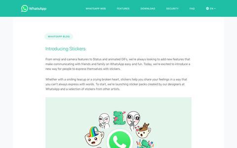 Screenshot of Blog whatsapp.com - WhatsApp Blog - captured Jan. 17, 2019
