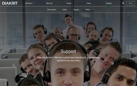Screenshot of Support Page diakrit.com - Contact: Support - DIAKRIT International - captured Feb. 8, 2016