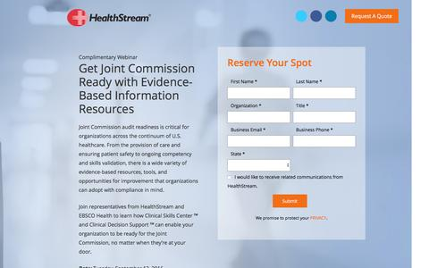 Screenshot of Landing Page healthstream.com - Get Joint Commission Ready with Evidence-Based Information Resources - captured Sept. 6, 2016