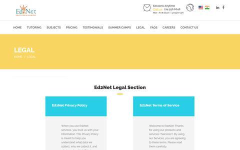 Screenshot of Terms Page ed2netlearning.com - LEGAL – Ed2Net learning - captured Nov. 10, 2018