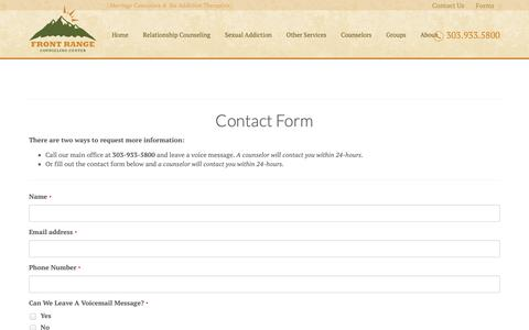 Screenshot of Contact Page frontrangecounselingcenter.com - Denver Christian Counseling | Biblical Counselors - captured Nov. 6, 2018