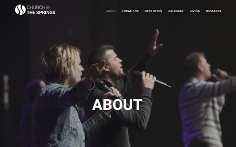 Screenshot of About Page thesprings.net - About — Church @ The Springs - captured July 30, 2017