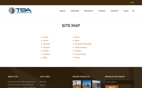 Screenshot of Site Map Page tsaci.com - Site Map – TSA Contracting, Inc. | General Contractor & Construction Company - captured Dec. 1, 2016