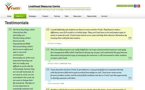 Screenshot of Testimonials Page vrutti.org - Vrutti - Livelihood Resource Centre - Testimonials - captured Nov. 5, 2014