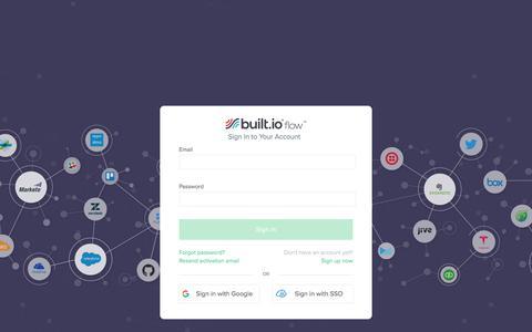 Screenshot of Login Page built.io - Built.io Flow - Login - captured Sept. 25, 2018