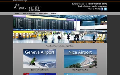 Screenshot of Home Page airport-transfer-company.com - The Airport Transfer Company | Nice Airport Transfers | Geneva Airport Transfers - captured Oct. 7, 2014