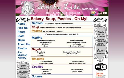 Screenshot of Menu Page mochalisacoffeehouse.com - Menu, Bakery, Soup, Pasties - Mocha Lisa Coffeehouse - Racine, Wisconsin - captured Jan. 13, 2017