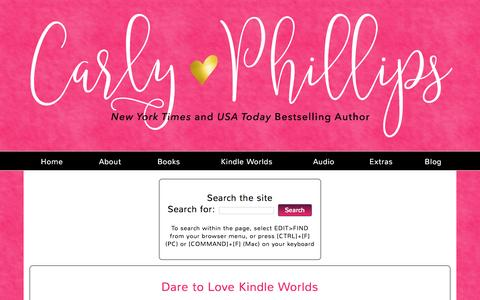 Screenshot of FAQ Page carlyphillips.com - Carly Phillips | New York Times Bestselling Author » Dare to Love Kindle Worlds - captured Feb. 18, 2016