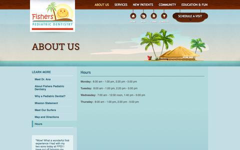 Screenshot of Hours Page fisherspediatric.com - Fishers Pediatric Dentistry » Hours - captured Oct. 6, 2014