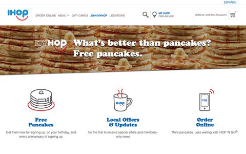 Screenshot of Signup Page ihop.com - MyHop - Pancake Perks including Free Pancakes | Sign Up - captured June 16, 2019