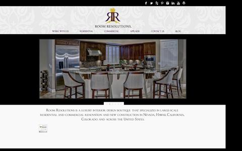 Screenshot of Home Page roomresolutions.com - Las Vegas Luxury Interior Design - Interiors by Jane Cunningham - captured Sept. 30, 2014