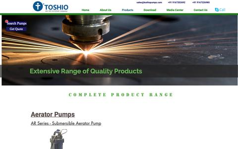 Screenshot of Products Page toshiopumps.com - Products | Complete Pump Range |TOSHIO TECHNOLOGY PVT LTD - captured Oct. 19, 2018