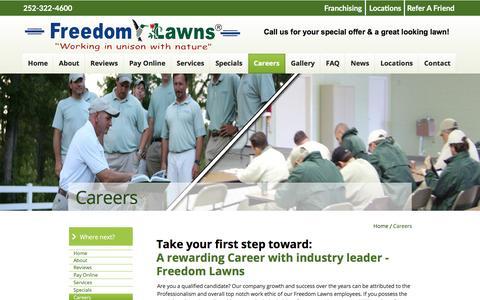 Screenshot of Jobs Page freedomlawnsofpittcounty.com - Freedom Lawns of Pitt County - captured Jan. 22, 2017