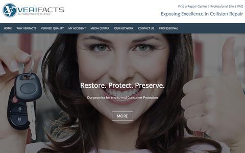 Screenshot of Home Page verifactsauto.com - Verifacts Automotive - captured Feb. 14, 2016