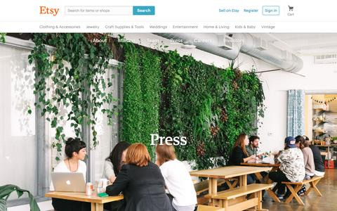 Screenshot of Press Page etsy.com - Etsy: Press - captured Aug. 8, 2016