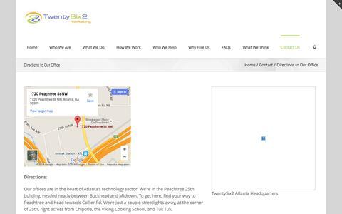 Screenshot of Maps & Directions Page twentysix2.com - Directions to Our Office - TwentySix2 Marketing - captured Feb. 16, 2016